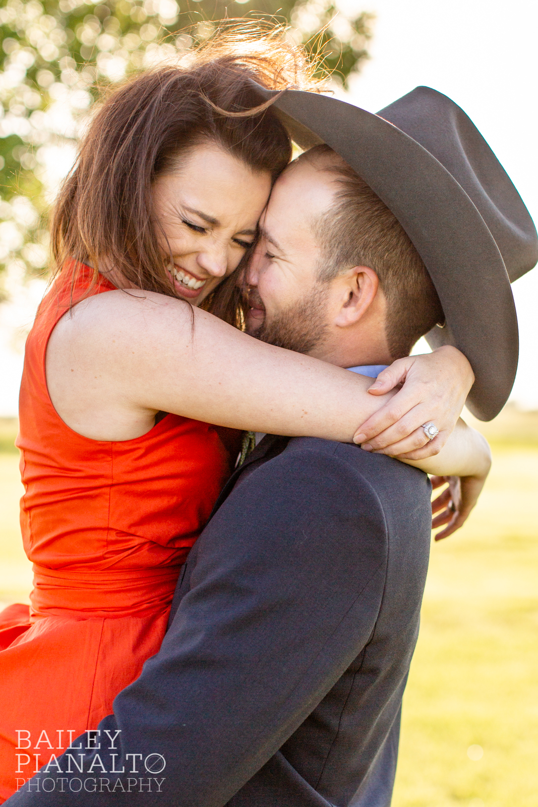 Blue & Red At-Home Countryside Cowboy Spring Sunset Engagement Inspiration