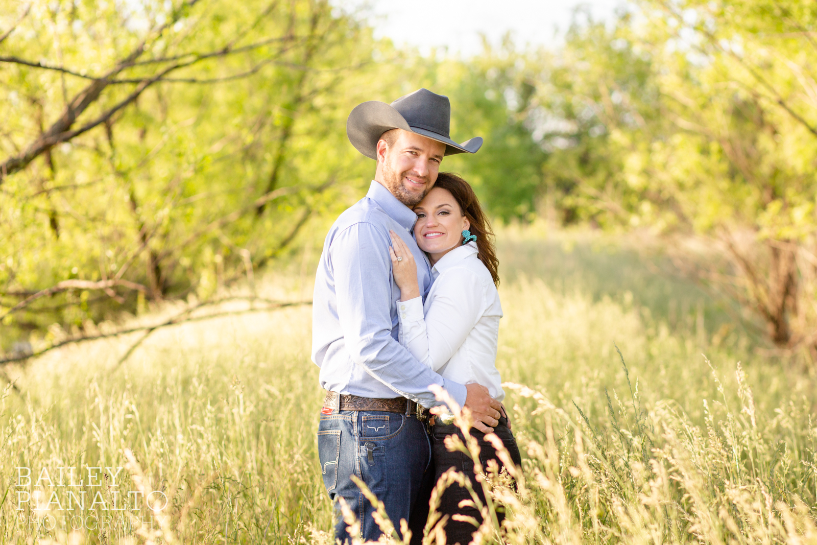 Turquoise & White At-Home Countryside Cowboy Spring Sunset Engagement Inspiration
