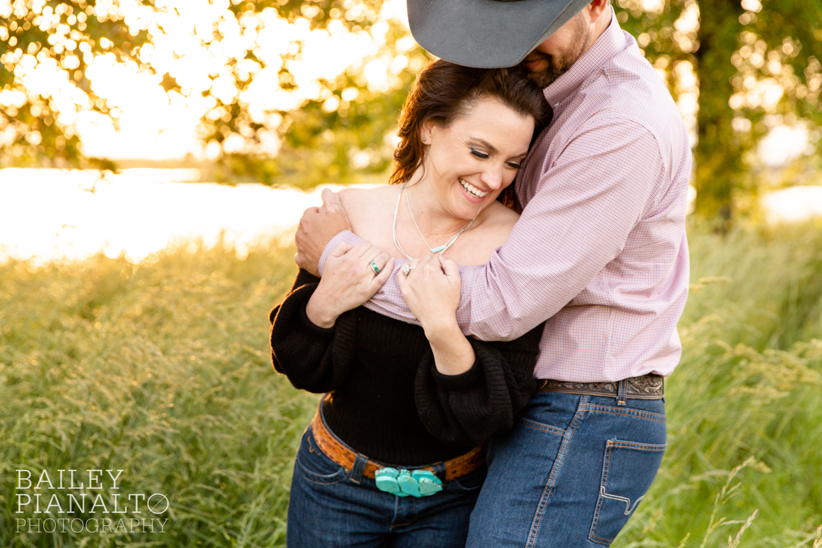 Turquoise & Black At-Home Countryside Cowboy Spring Sunset Engagement Inspiration