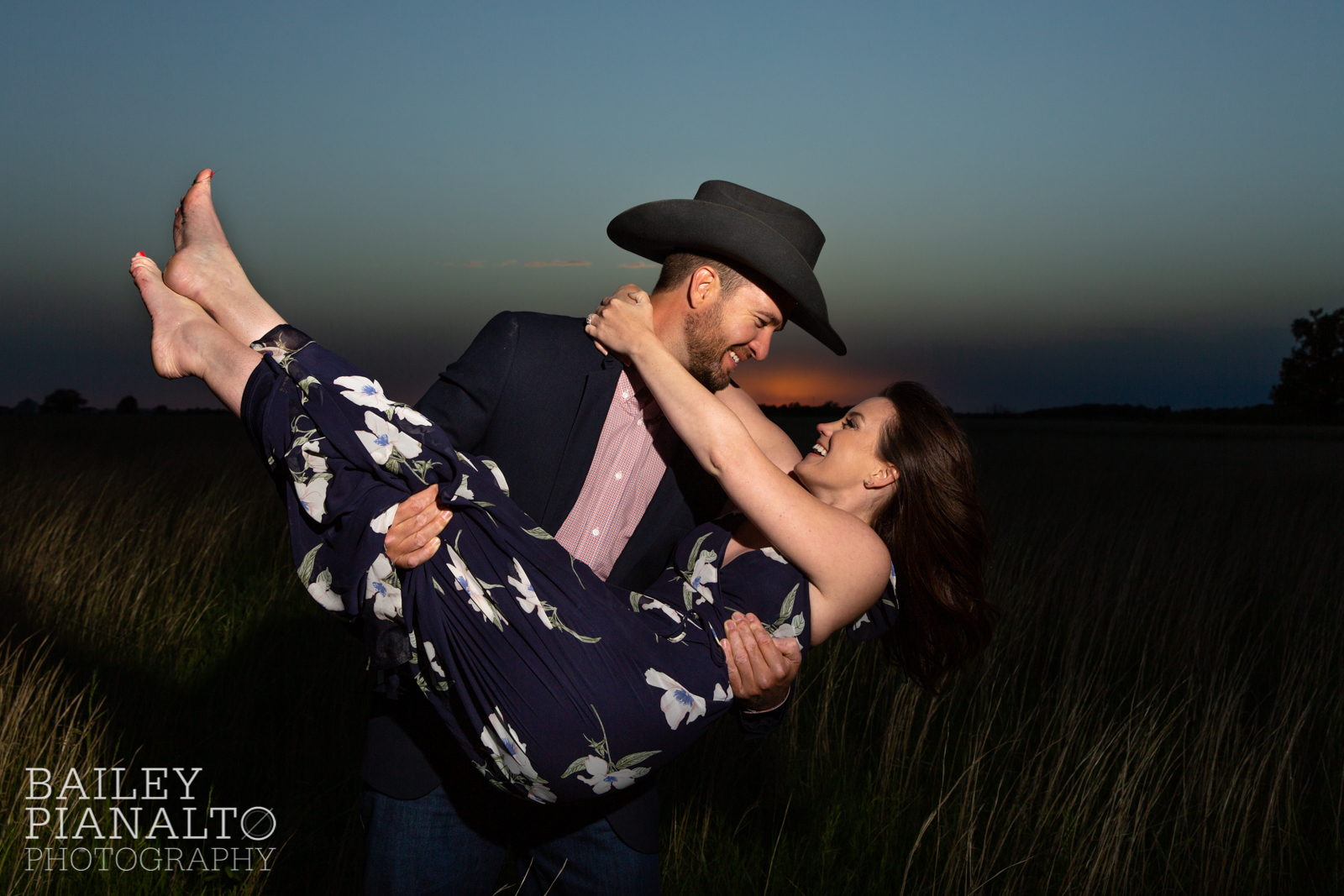 Pink & Navy At-Home Countryside Cowboy Spring Sunset Engagement Inspiration