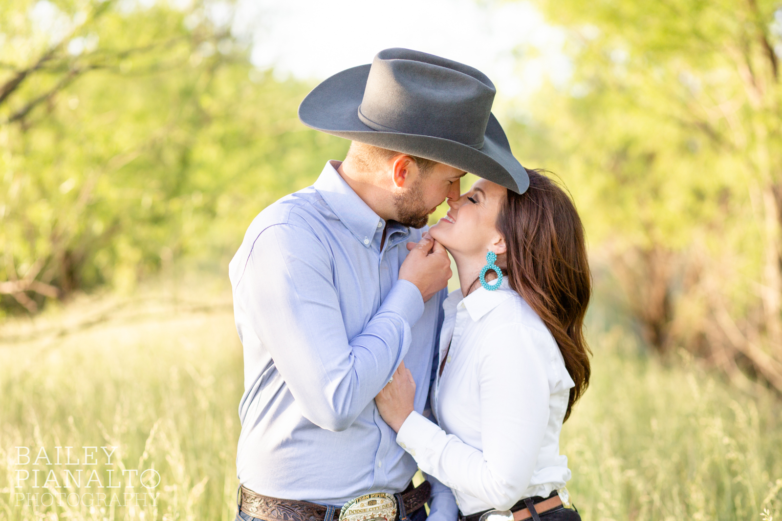 Turquoise & White At-Home Countryside Spring Sunset Engagement Inspiration