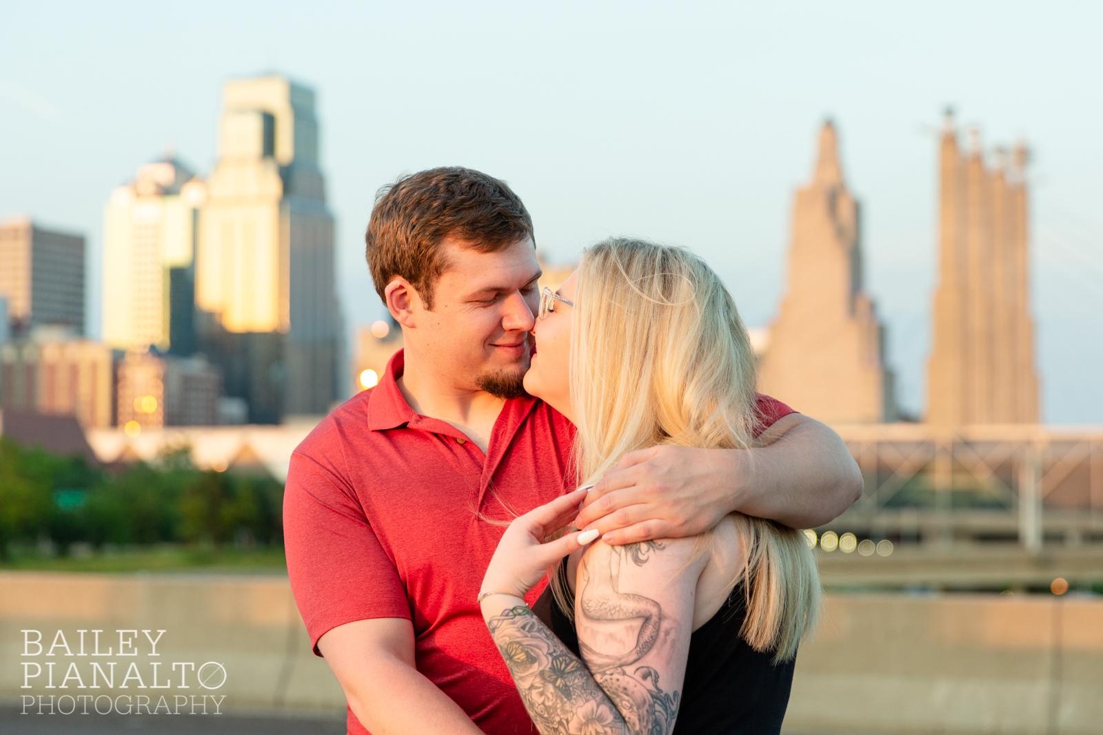 Red & Black Urban Summer Sunset Engagement Inspiration in the River Market | Kansas City, MO