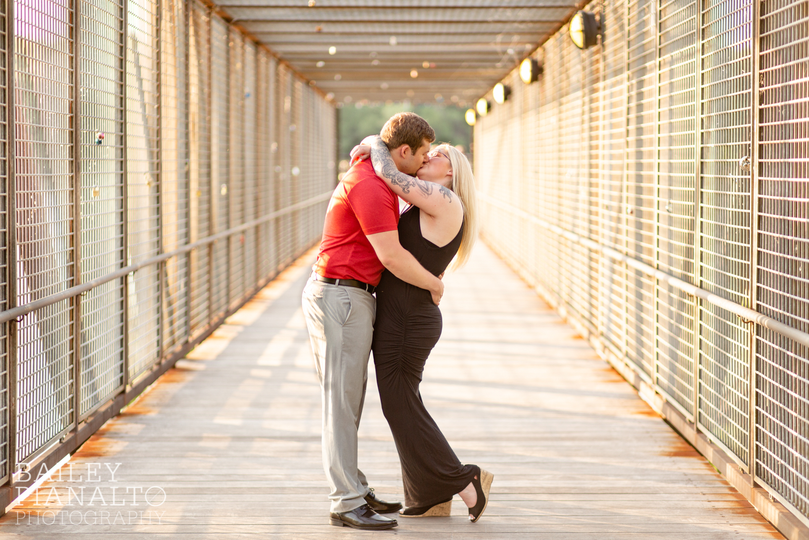 Red & Black Urban Summer Sunset Engagement Inspiration in the River Market | Kansas City, MO