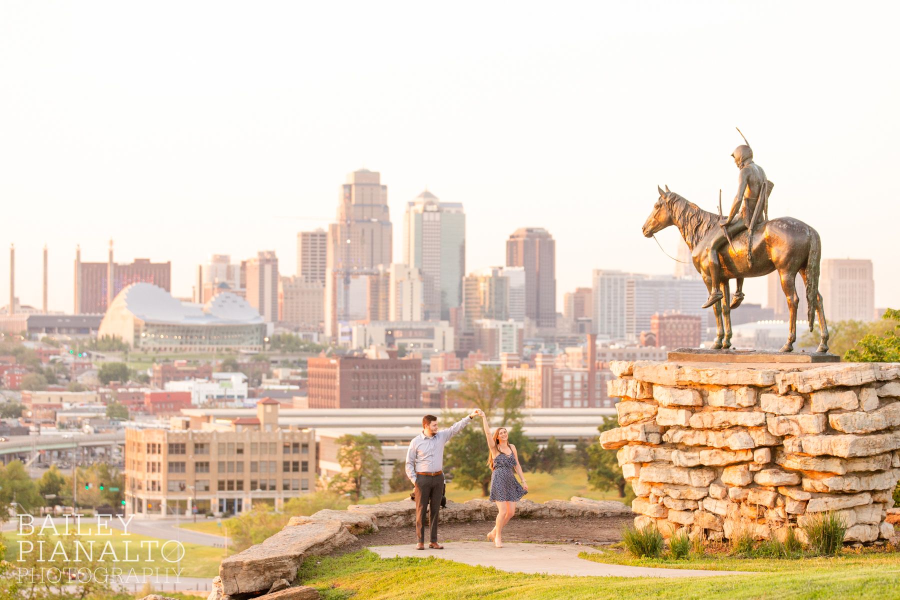 Navy & Gray Sunset Skyline Engagement Session Inspiration at The Scout | Kansas City, MO