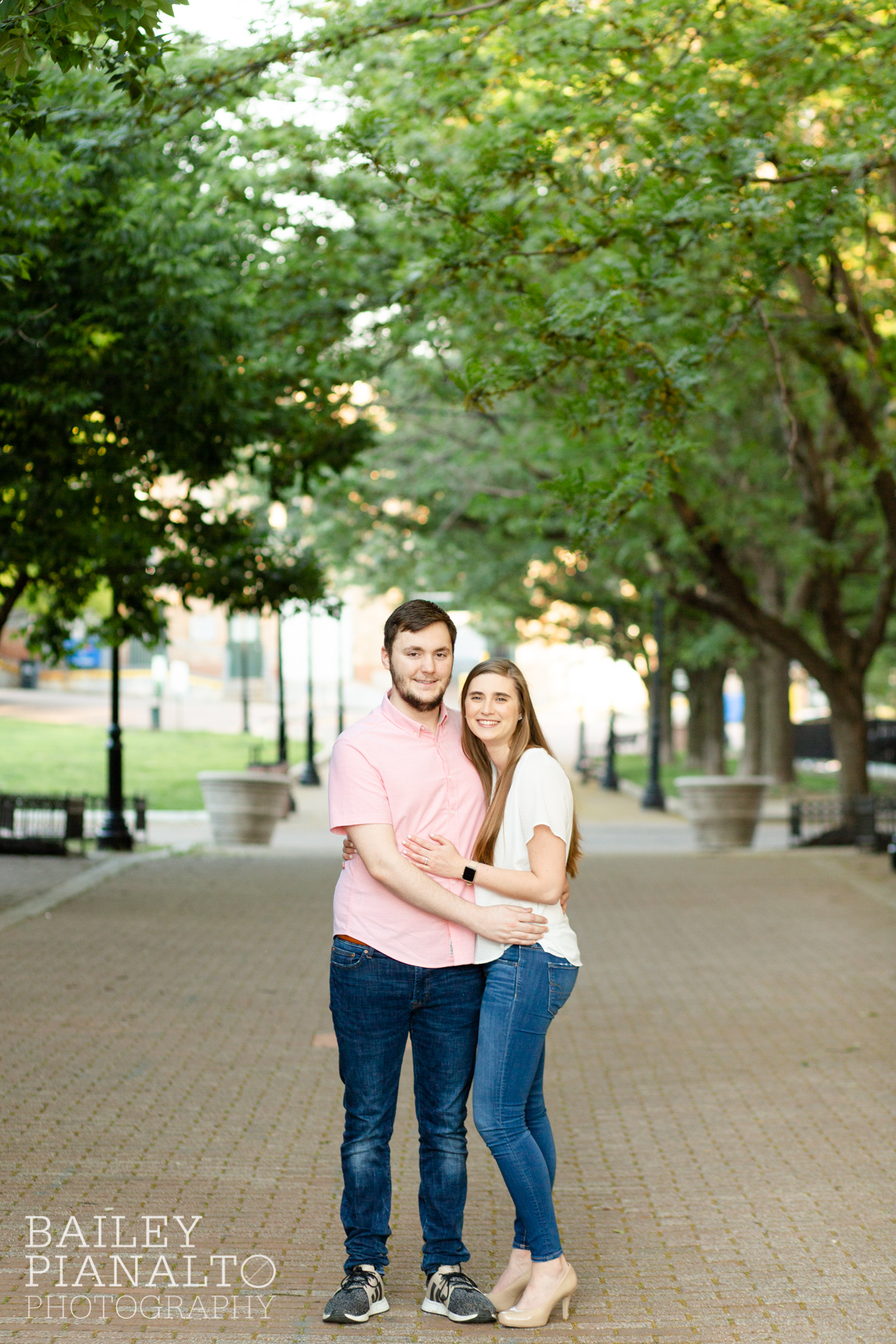 Pink & Cream Downtown River Market Golden Hour Engagement Session Inspiration at The Scout | Kansas City, MO