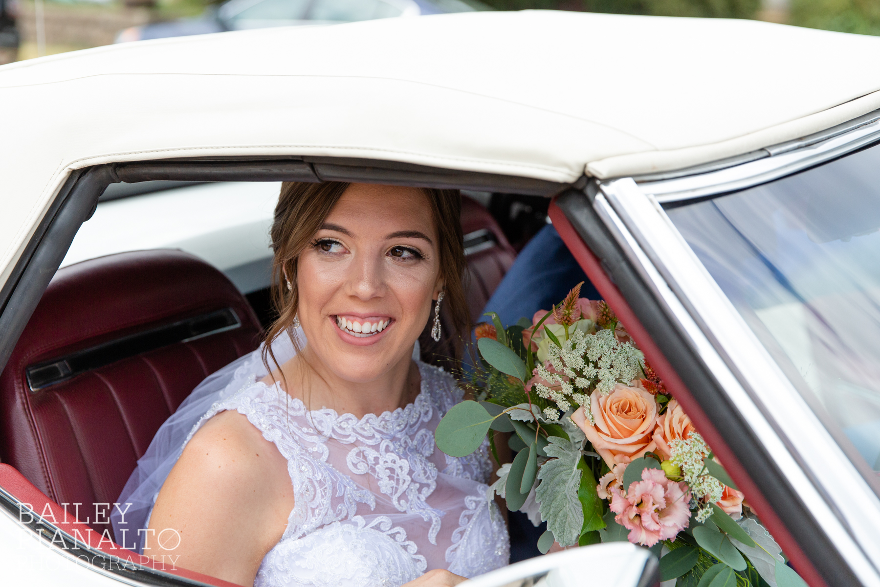 Peach & navy summer wedding with a vintage 1975 Corvette convertible, Azazie and Men's Wearhouse in Hutchinson, Kansas