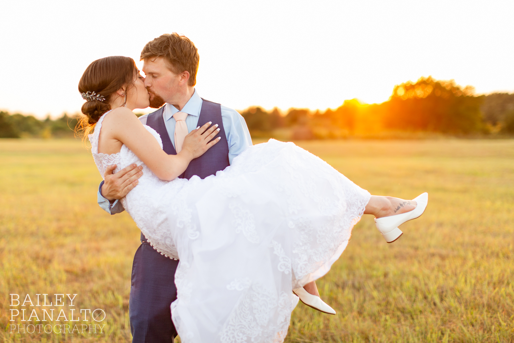 Peach & navy summer sunset wedding inspiration with a vintage 1975 Corvette convertible, Azazie and Men's Wearhouse in Hutchinson, Kansas