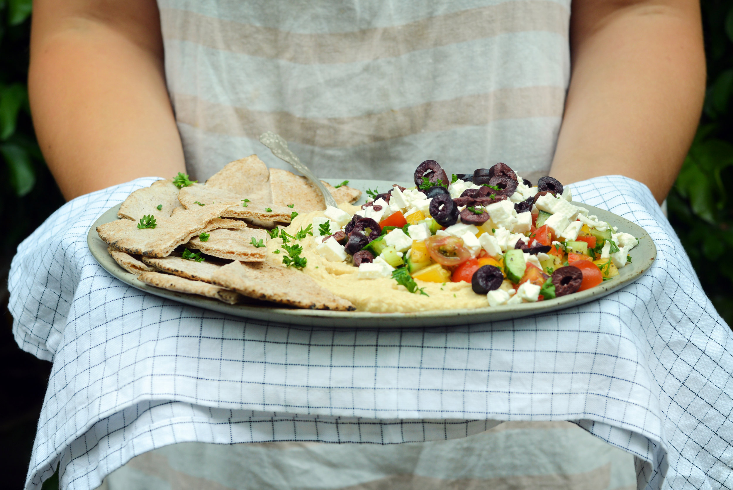 Greek Salad Loaded Hummus - Global Dish - Stephanie Arsenault