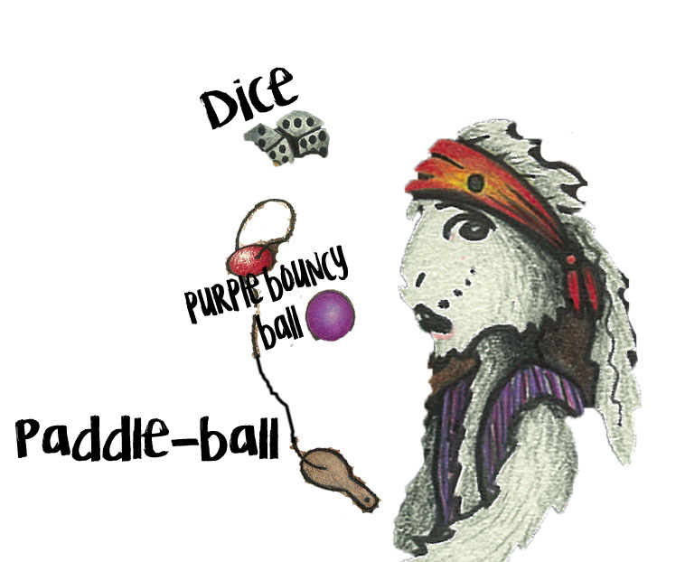 Where are Rabbit's paddle-ball, dice and purple bouncy ball?
