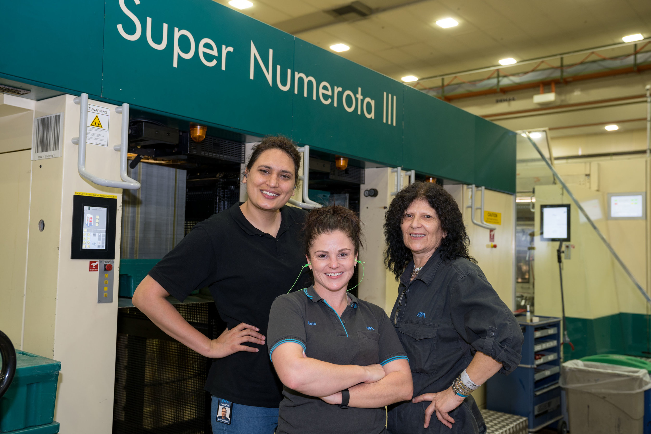 Class Act: The print team of (L-R) Harneet Kaur, Jade McDonald, and Yvonne Claassan (with Bianca Martinov) have created a milestone moment in NPA's history.