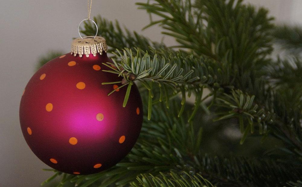 closeup of christmas ornament ball