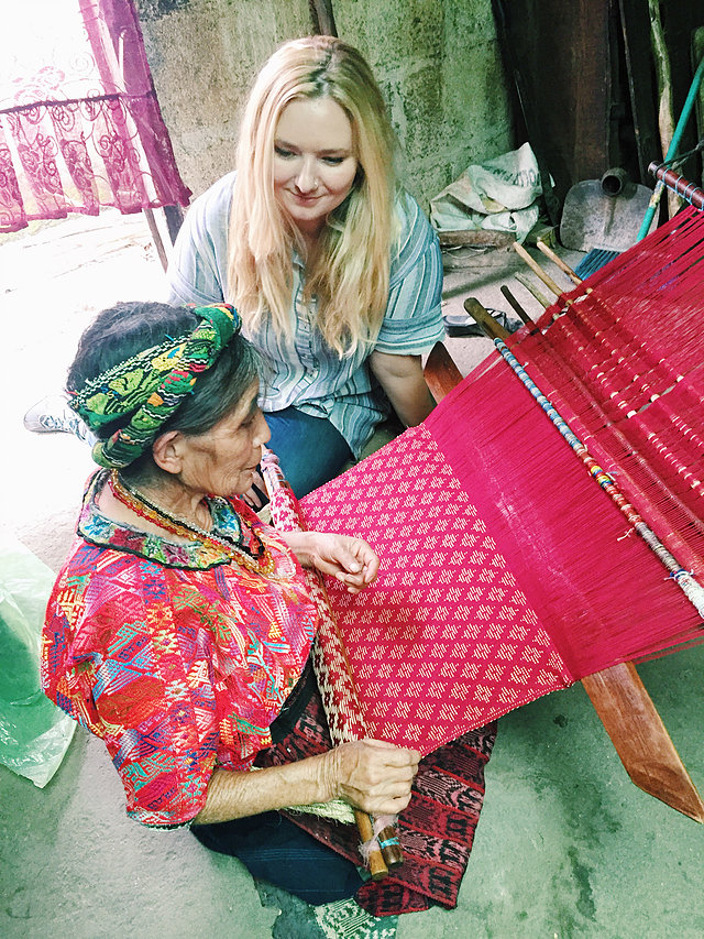 Caption: Emily Pinto with an artisan partner in Guatemala.