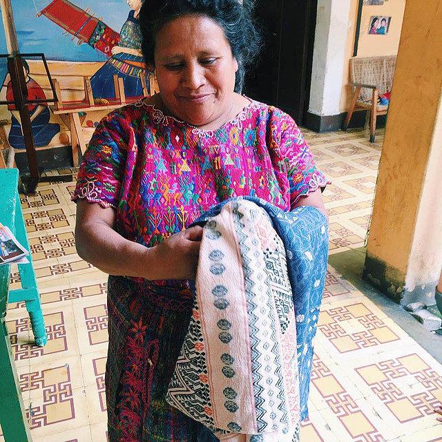 Caption: Handwoven textiles for Estrella de Mar  Carry All bags .