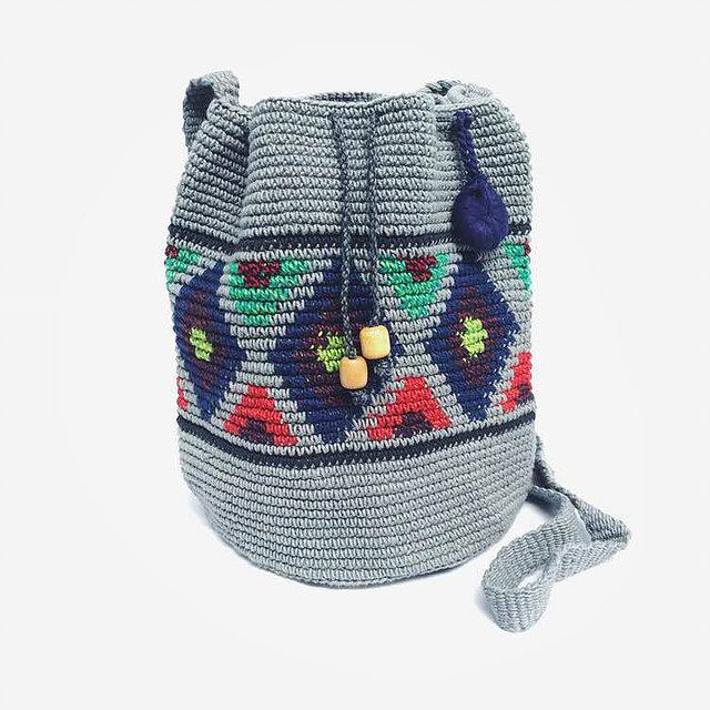 Caption: The hand-crocheted  Gray Contrast Bucket Bag