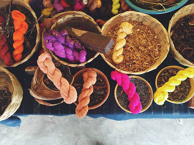 Caption: Fibers dyed with natural dyes