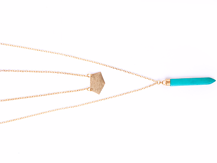 TURQUOISE LAYERED SPIKE NECKLACE  : This item is handcrafted at a fair trade artisan cooperative in India.