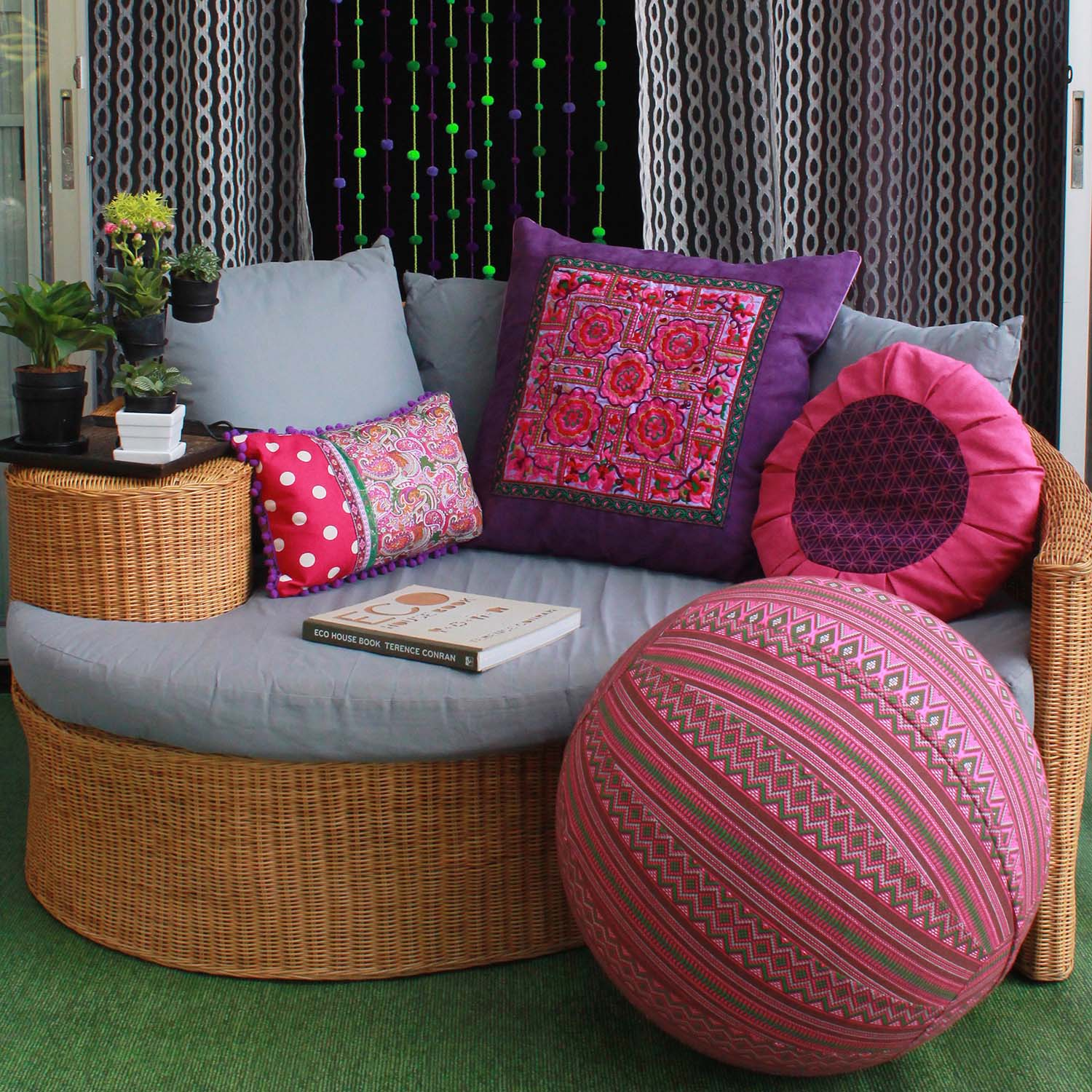 Colorful fair trade yoga ball covers and bright pillows from global groove life come in multiple colors and prints!