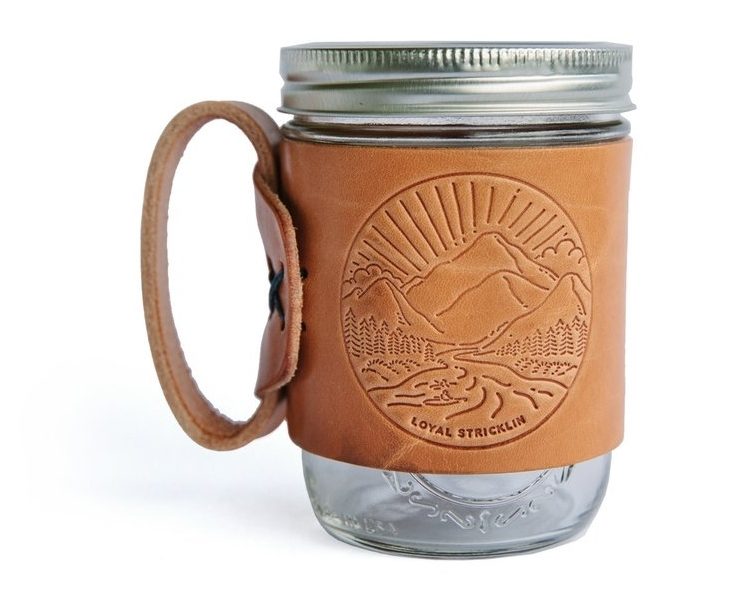 This quality leather coffee sleeve is perfect for mason jars to take your coffee to-go.