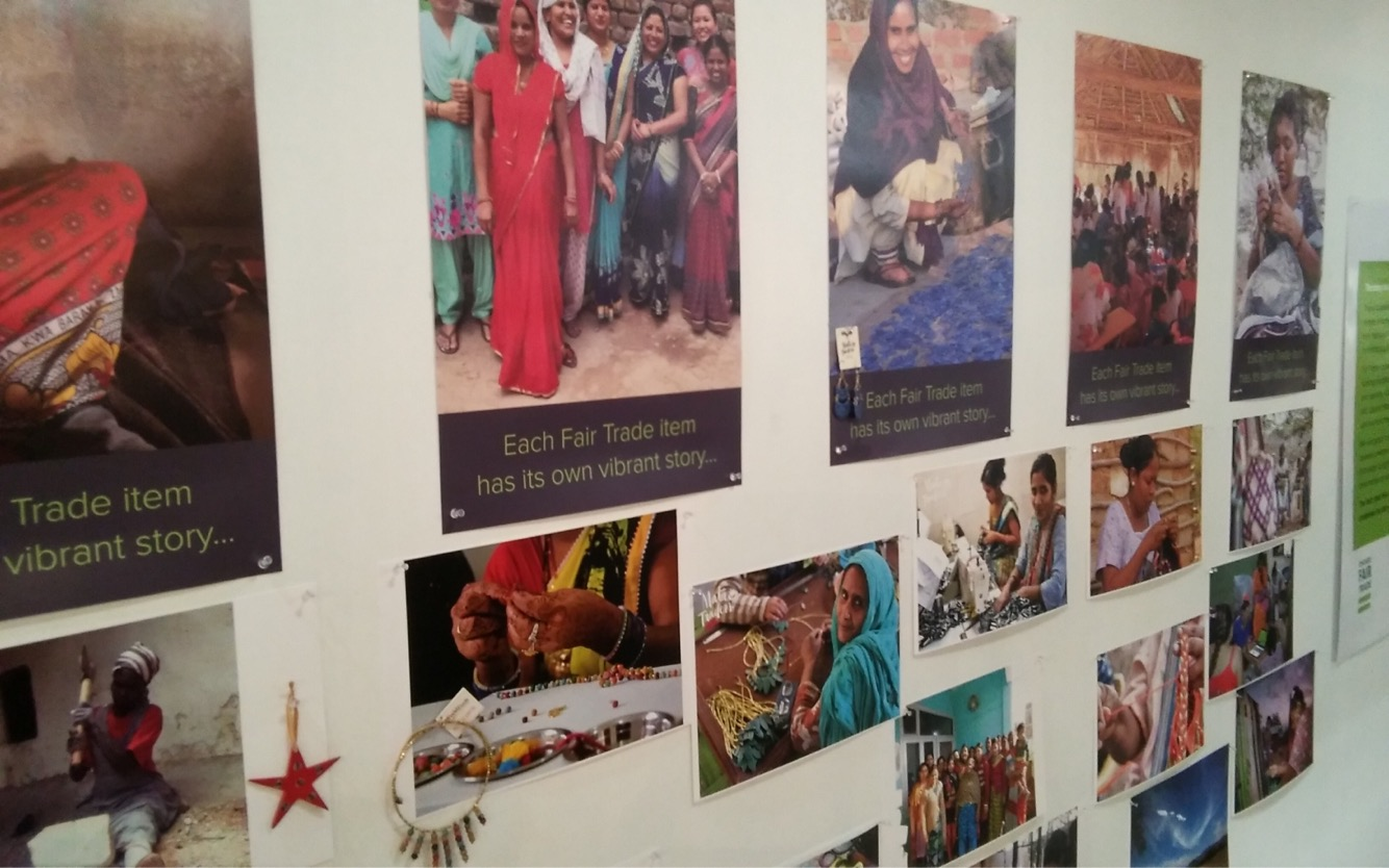 The walls of the Chicago Fair Trade pop-up shop show the power of fair trade.