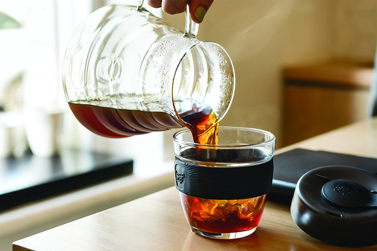 This glass to-go up is your new go-to for your morning coffee.