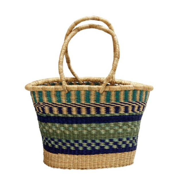 Hand-woven in the Bolgatanga region of northern Ghana, this basket provides income-earning opportunities for rural women working with Ele Agbe Company.
