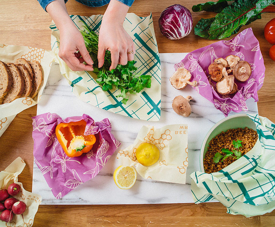 Bees wrap is an awesome addition to plastic wrap! Check out the colorful versions available from bees wrap. It is made from organic cotton, beeswax, organic jojoba oil, and tree resin. Bee's Wrap is washable, reusable and compostable.