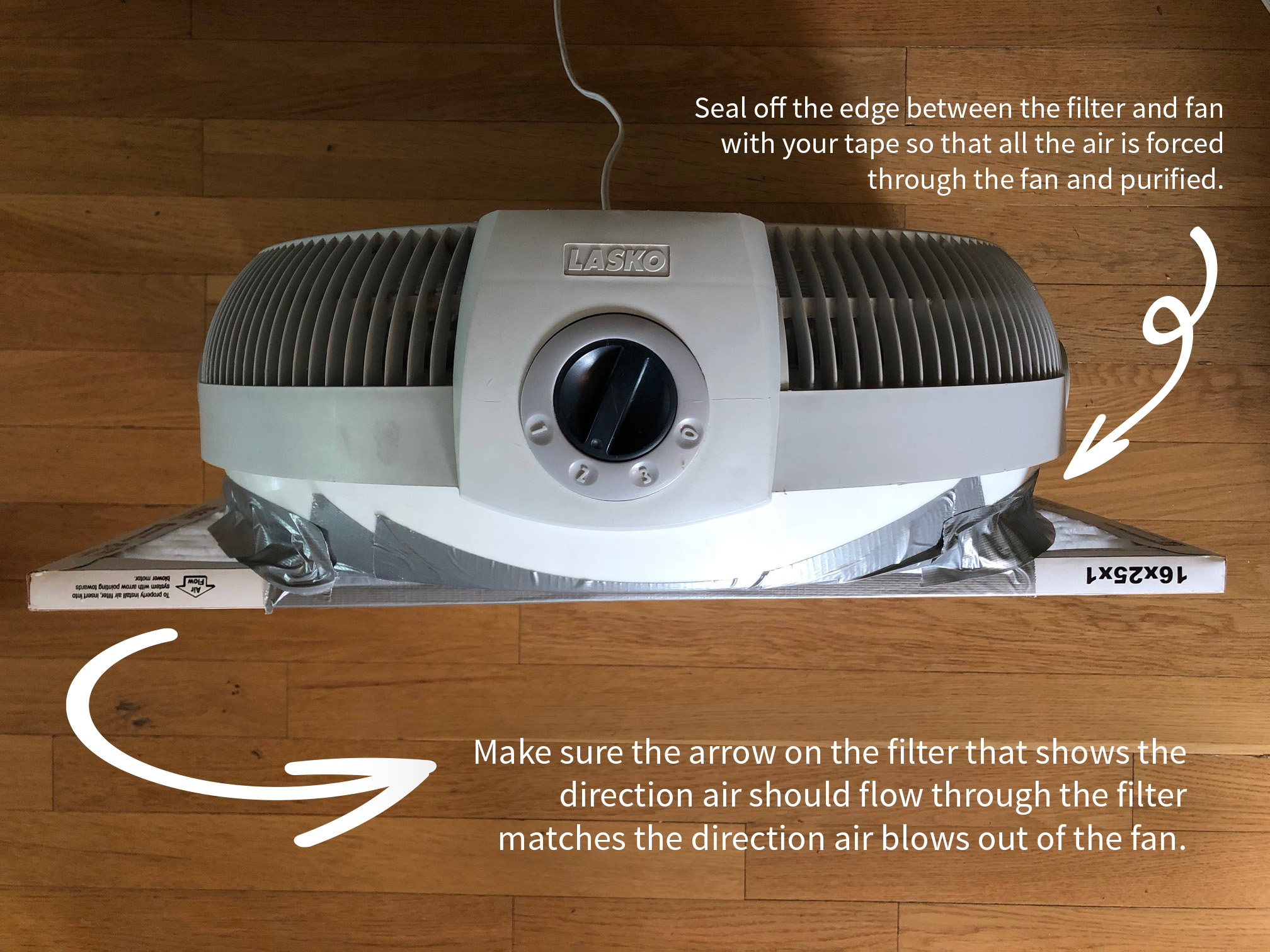 "You really can't do it wrong and you can use any filter size and almost any method to attach the filter to the fan.  Just seal off the space around the fan and the filter if possible to force all the air through and make sure you check which way air is supposed to flow through the filter.  There usually an arrow on the outside of the filter that says ""Air Flow"" and points in the direction that's right."