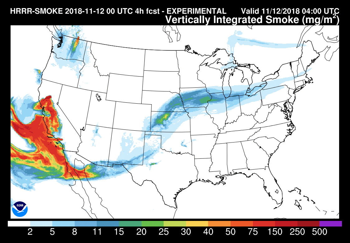 This image from the High Resolution Rapid Refresh map (run by the  National Oceanic and Atmospheric Administration ) shows just how far the unhealthy air from the CA fires is traveling, affecting people all across the United States.