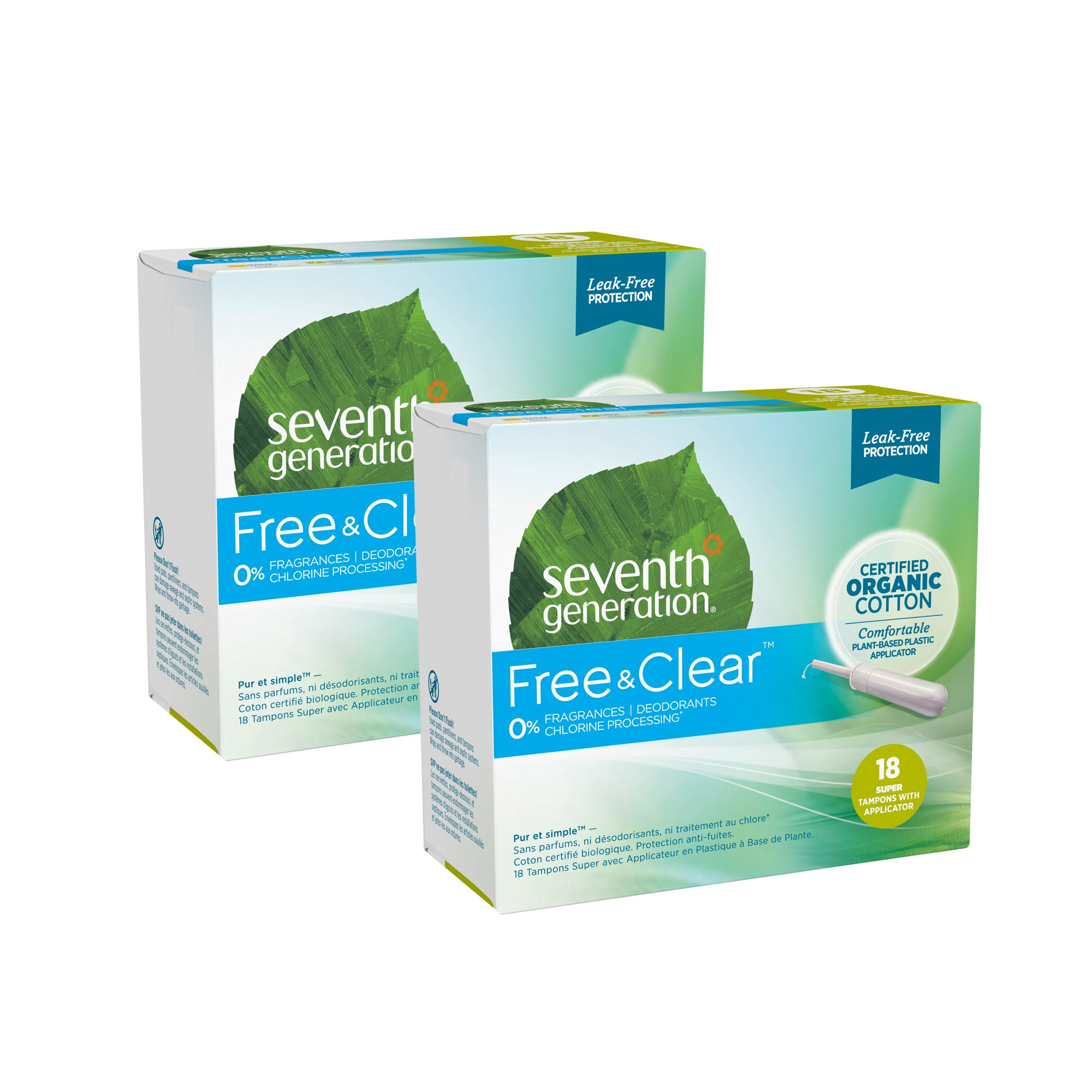 Seventh Generation offers organic cotton tampons, chlorine-free pads and pantiliners. They give you the leak protection you need with no added fragrances or deodorants.