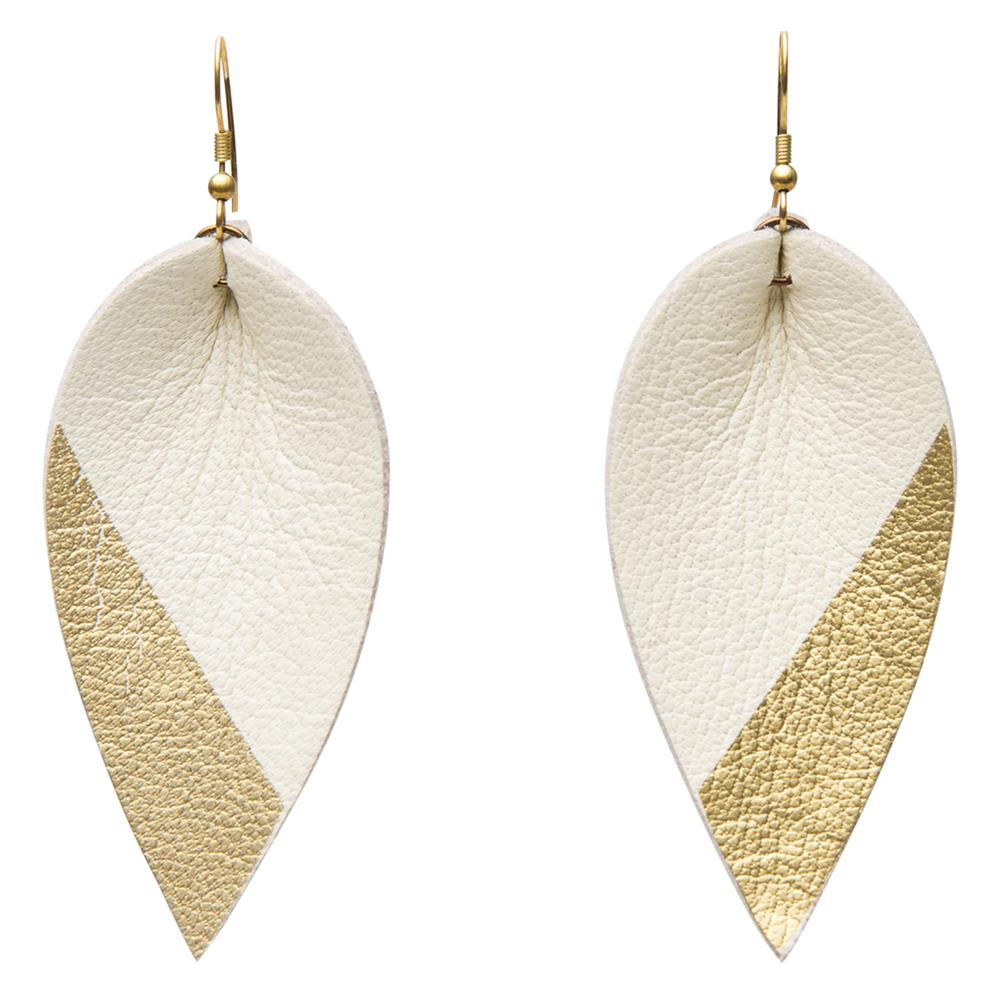 Raven & Lily: ZIA DIPPED LEATHER LEAF EARRINGS // GOLD ON WHITE