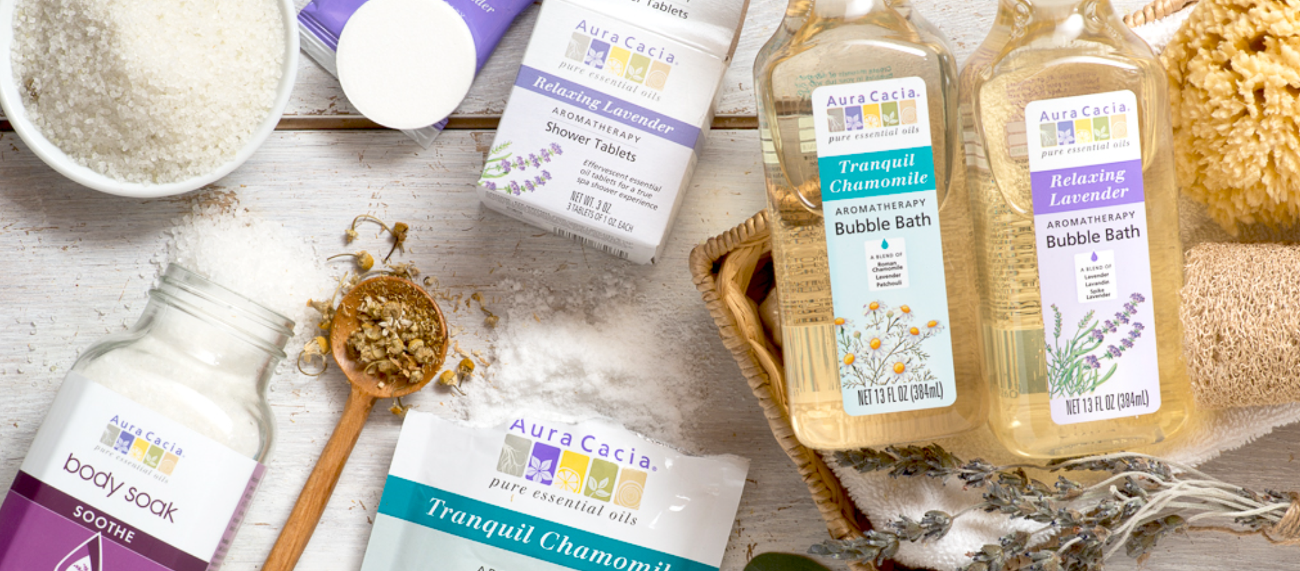 Aura Cacia has a wide array of clean, quality bath products with essential oils!