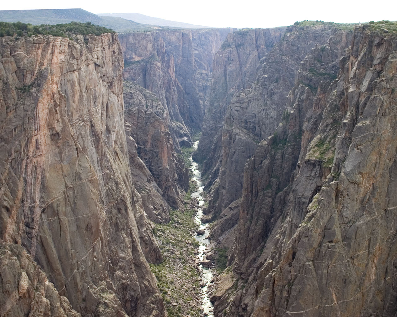 The Gunnison River flows 2,000 feet below the rim of the Black Canyon of the Gunnison