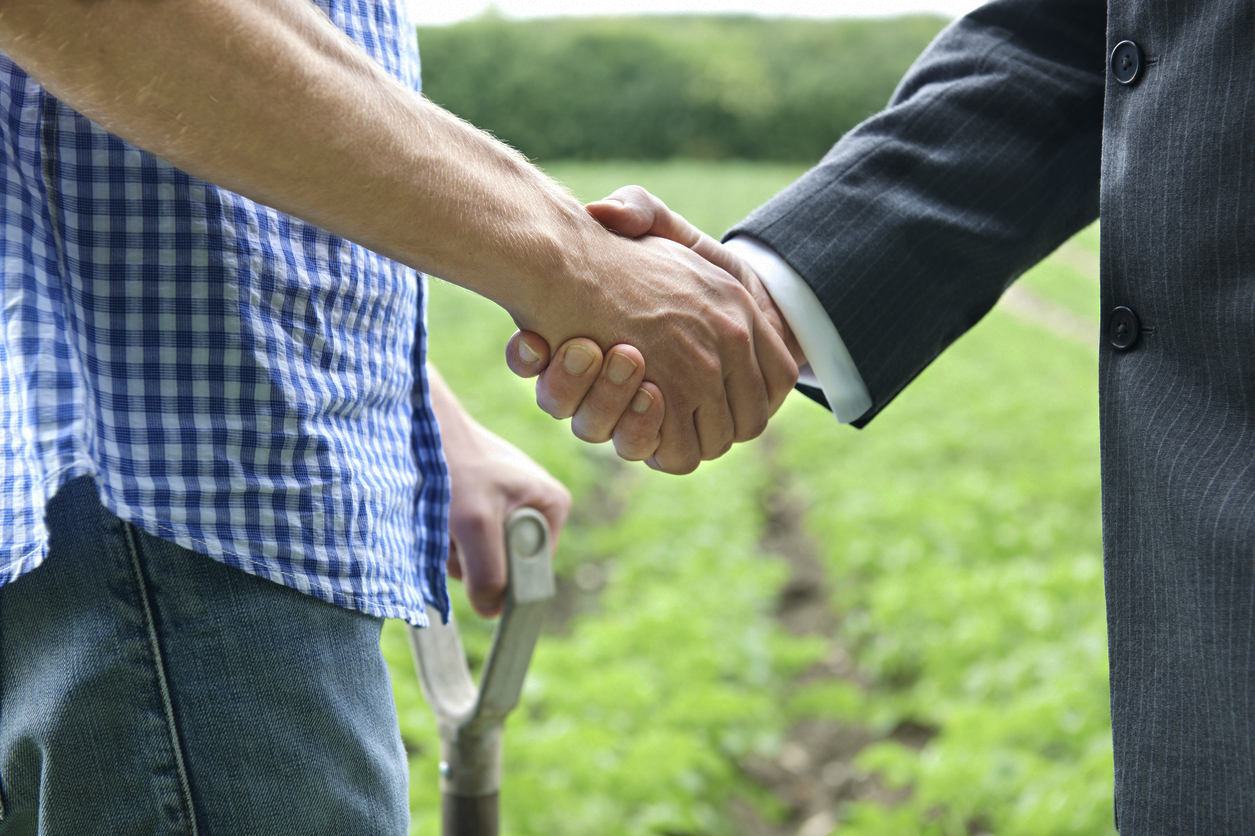 farmer with shovel and business man shake hands in field of row crops