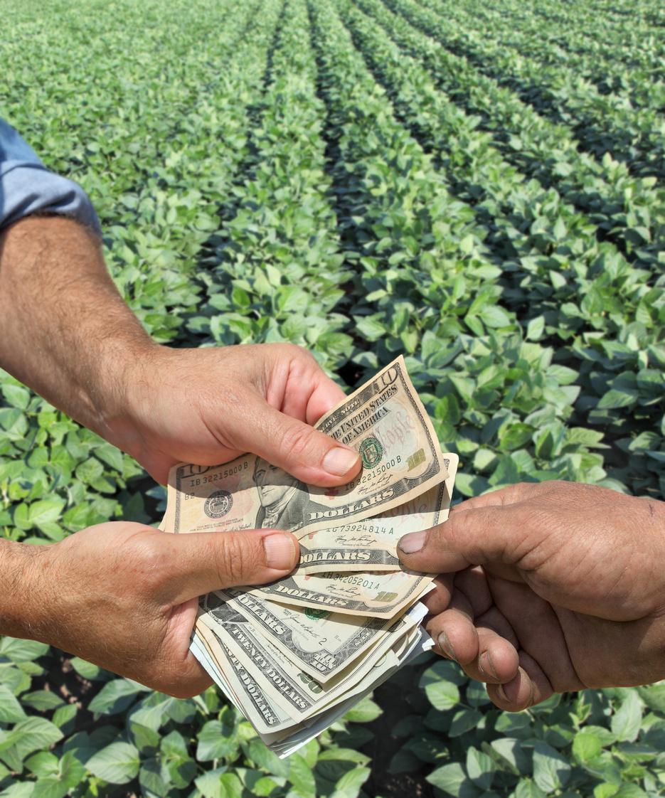 farmers handing over US dollars in row crop field