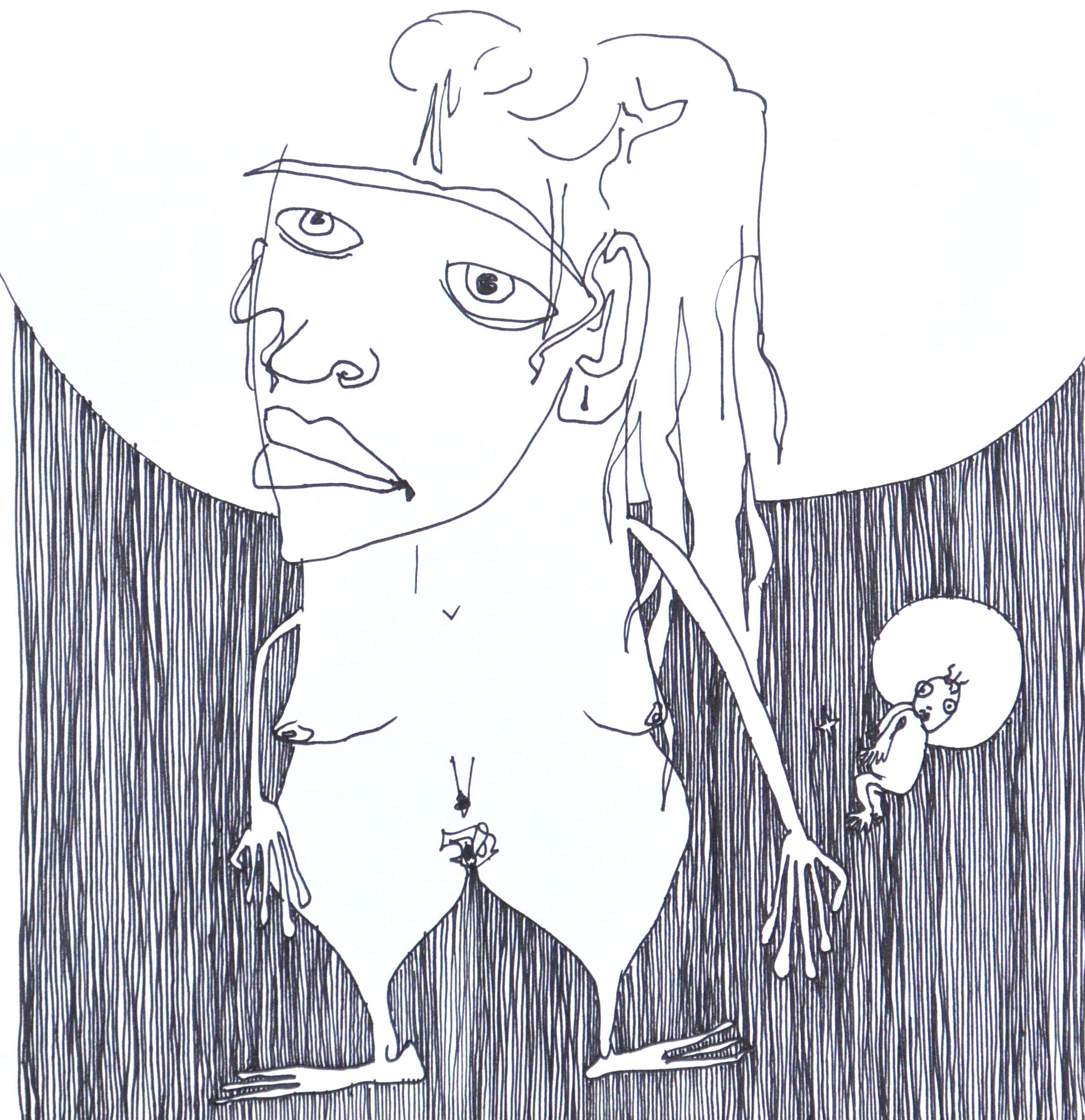 Wife of poet , 2017. Ink. 7.5 x 7.5 in.