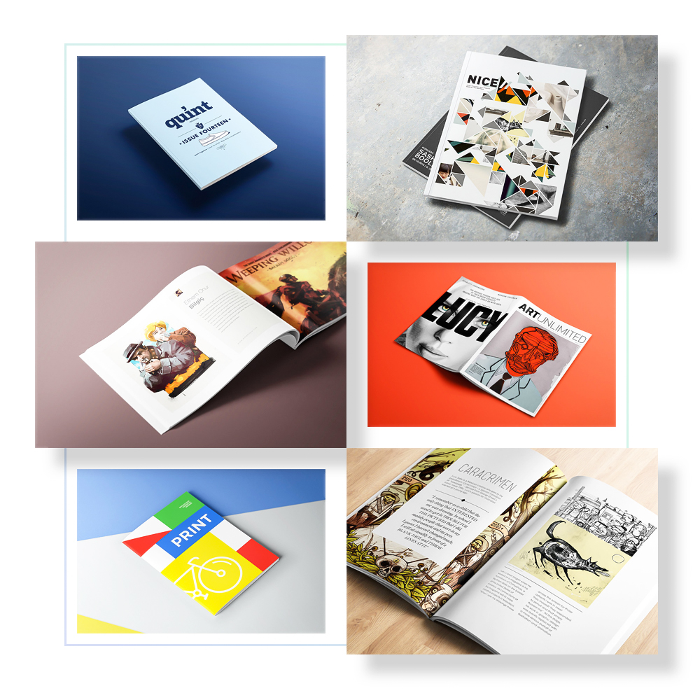 Soft Cover Mockups - 58 different perspective soft cover magazine/book mockups. Covers and inner pages comes with close up and standart scenes.Full Preview