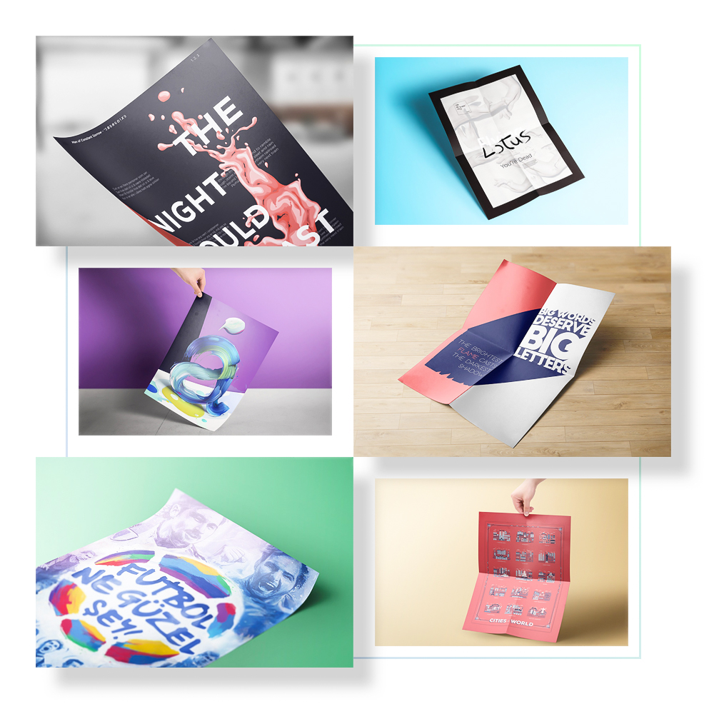 Poster & Flyer Mockups - 8 different poster/flyer mockups. Some of them folded, some of them curved. All of them realistic and fully customizable.Full Preview
