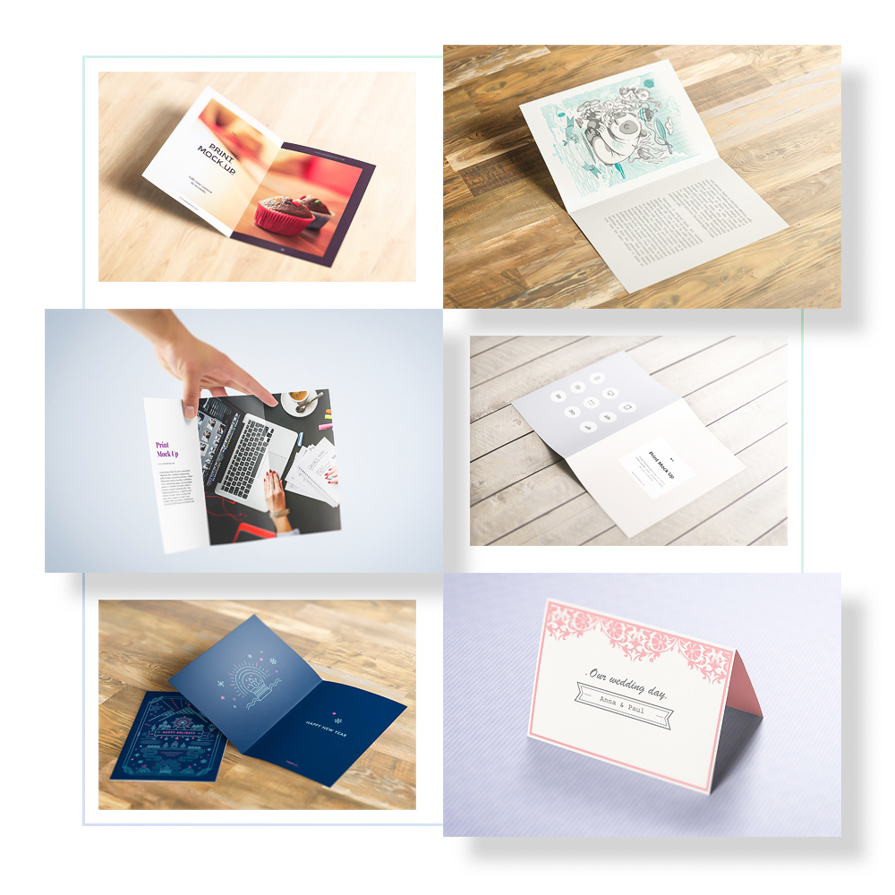Folded Paper Mockups - 12 different perspective and size folded brochure/paper mockups. Bi-folded, two-folded and three-folded. Great for brochure or greeting card designs.Full Preview