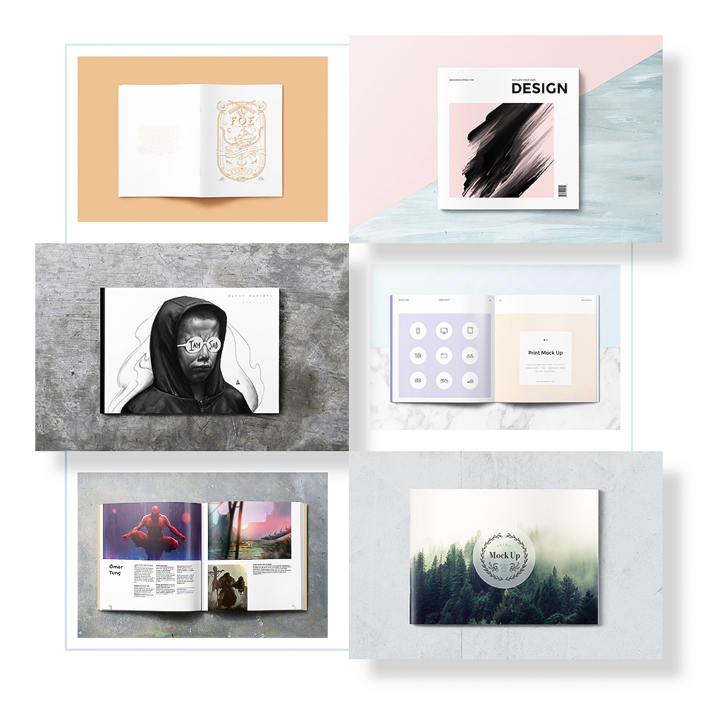 Top View Soft Cover Mockups - US Paper Sizes, A5, A4, A3 and Square Sizes.Full Preview