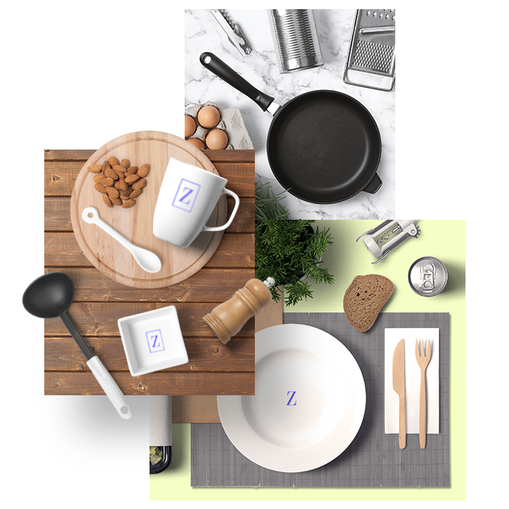 94 Kitchenwares For Your Table - Many different sizes and materials. Plates,vase, porcelain cups, spice jars, kettles, chopping boards, pans and pots, cases and many more different items. Some of them customizable and you can replace your designs on to them.Full Preview