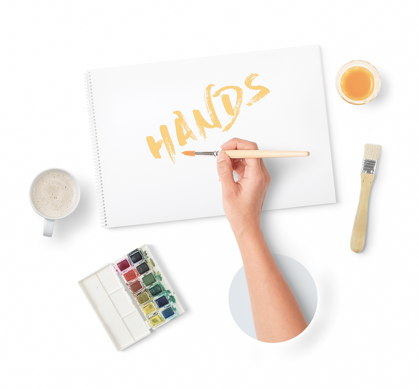 Hands On - If you want to show your artwork while creating it, you can use man or woman hands. While painting with brush, working on Macbook, playing with iPhone. Choose your hand and go on.Full Preview