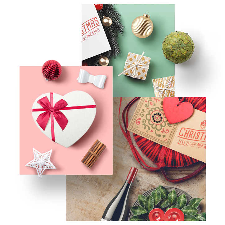 All You Need For A New Year - We've included all you need for a great Christmas. There are xmas ornaments, gift boxes, wreaths, drink bottles and more. Put them together and get awesome hero images.Full Preview