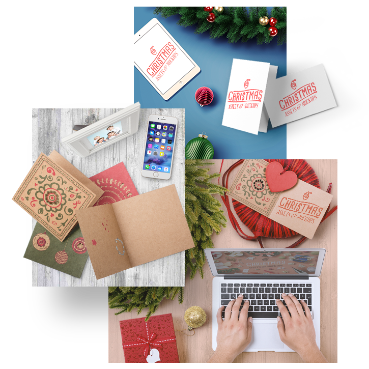 Customizable Items - There are greeting card, Macbook, iPhone and iPad mockups. You can replace your design into screens or paste your design or text into greeting cards.Full Preview