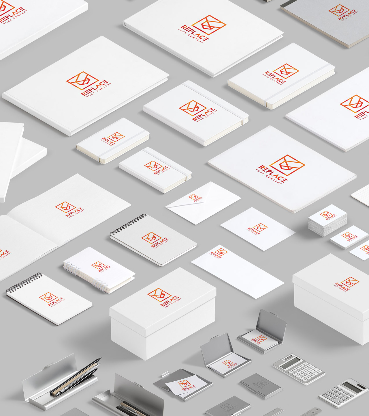 White Items - We've grouped items according to their colors. Business cards, notebooks, books, pens and many more item in light colors.Full Preview