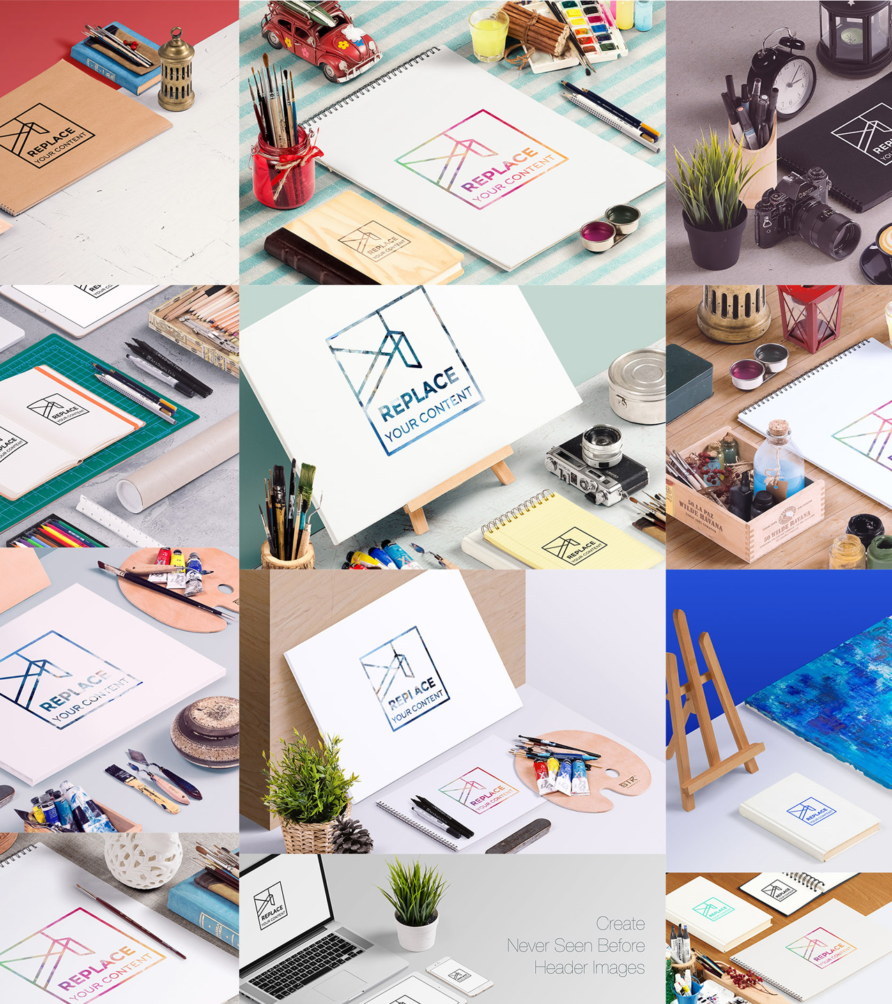 Pre-designed Mockup Scenes - Are you lazy or have no time? Use one of ready made stages and get a quick result. All of them fully layered and includes light setup for a photo realistic image.Full Preview