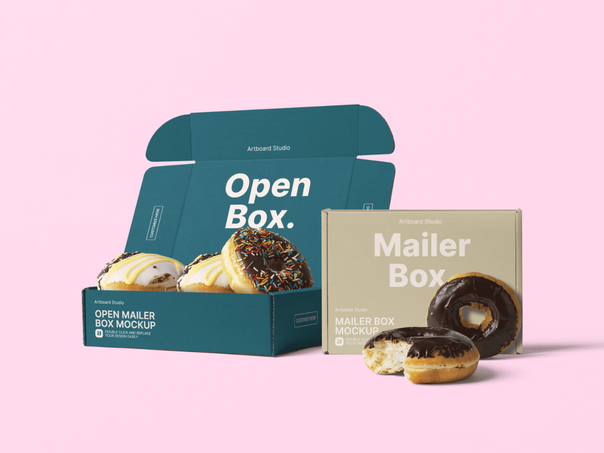 Download Donuts And Mailer Boxes Mockup Template