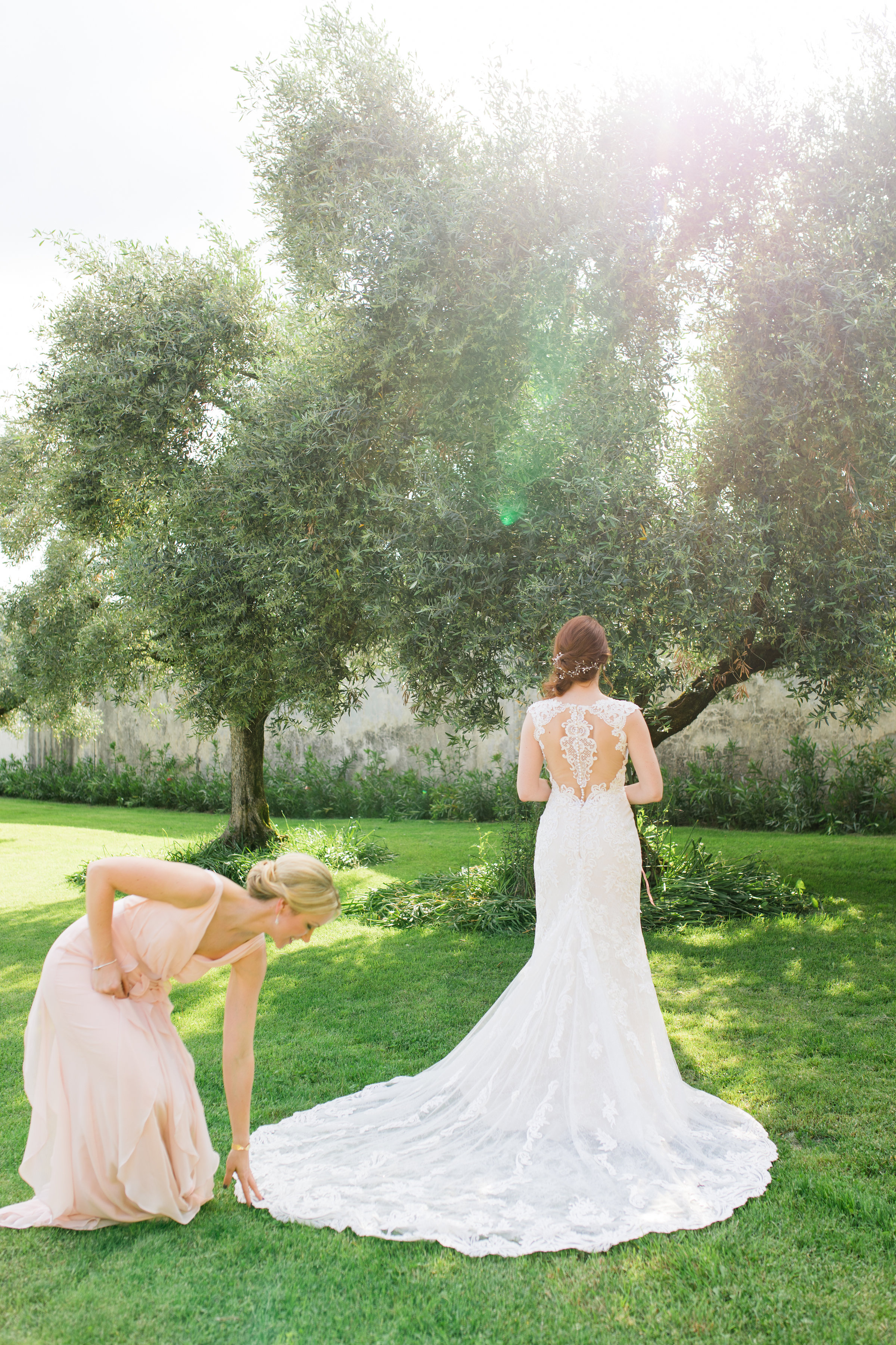 wedding dress and maid of honour in Italy