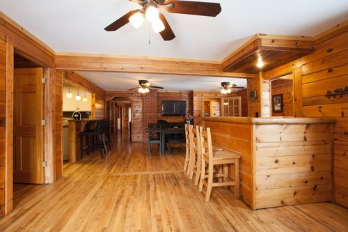 Au Sable Riverview resort The Lodge knotty pine interior 1 Grayling Michigan.jpg