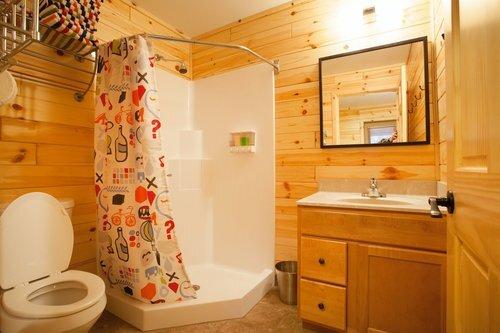 Au Sable Riverview Resort Grayling Michigan The Cottage Bathroom shower 11.jpg