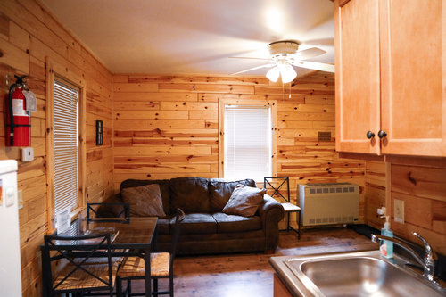Au Sable Riverview Resort Cabin 2 Living Room Kitchen  Grayling 4.jpg